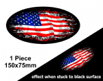 Fade To Black OVAL Design & American Stars & Stripes US USA Flag Vinyl Car sticker decal 150x75mm
